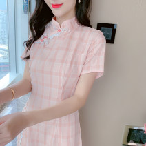 Dress Summer 2021 Picture color S M L XL Short skirt singleton  Short sleeve commute stand collar High waist lattice Socket Pencil skirt routine Others 18-24 years old Type H Yiqing Dai Korean version More than 95% other Other 100% Pure e-commerce (online only)