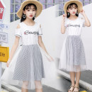 Dress Dark blue white Shuai Erke female 130cm pure cotton quality 140cm fine workmanship 150cm genuine counter 160cm simple and elegant 170cm good upper body effect 180cm suitable for fat girl Other 100% summer Korean version Short sleeve stripe cotton Splicing style xsqz706 Summer of 2018