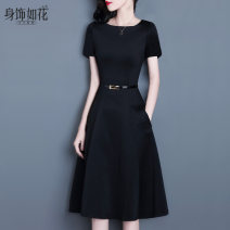 Dress Summer 2021 Short sleeve black thin summer Sleeve Black S ml XL XXL Limited gift belt Mid length dress singleton  Short sleeve commute One word collar middle-waisted Solid color zipper A-line skirt routine Others 25-29 years old Type A Sense flower lady Pleated pocket with lace up zipper SL0719