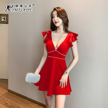 Dress Spring 2021 Red and black S M L XL XXL XXXL Short skirt singleton  Short sleeve commute V-neck High waist Solid color zipper A-line skirt Lotus leaf sleeve Others 25-29 years old Type A Kimisade / Princess Jimei lady JM-X0309 81% (inclusive) - 90% (inclusive) nylon Pure e-commerce (online only)