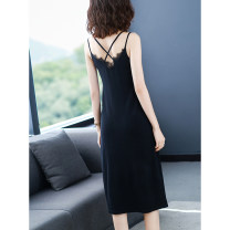 Dress Summer 2021 Beige light blue black M L XL XXL XXXL 4XL Mid length dress singleton  Sleeveless commute V-neck Loose waist Solid color Socket A-line skirt routine camisole 40-49 years old Frosty Splicing HS2343-4 More than 95% knitting other Other 100%