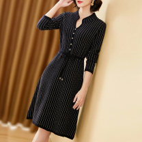 Dress Winter 2020 Army Green Black S M L XL XXL XXXL Mid length dress singleton  Long sleeves commute other middle-waisted stripe Single breasted A-line skirt routine 40-49 years old Frosty Korean version Lace up button HS-92917 31% (inclusive) - 50% (inclusive) polyester fiber