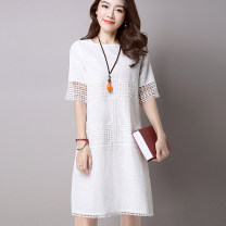 Dress Summer of 2019 Milky grey S M L XL 2XL Mid length dress singleton  Short sleeve commute Crew neck Loose waist Solid color Socket A-line skirt routine Others 25-29 years old Type A Yilanmei literature Hollowing out YLM19XL0002 More than 95% other other Other 100% Pure e-commerce (online only)