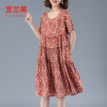 Women's large Summer 2021 Red green grey Large m large L Large XL Large XXL Dress singleton  commute easy Socket Short sleeve Decor Crew neck routine YLM21XT010553 Yilanmei 30-34 years old longuette Other 100% Pure e-commerce (online only)