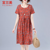 Dress Summer 2020 Flower 1 flower 2 flower 3 Flower 4 FLOWER 5 flower 6 flower M L XL 2XL 3XL Mid length dress singleton  Short sleeve commute Crew neck Loose waist Decor Socket Big swing routine Others 25-29 years old Yilanmei literature Lace up print More than 95% other other Other 100%
