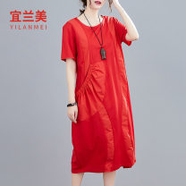 Dress Summer 2020 Red and black XL 2XL Mid length dress singleton  Short sleeve commute Crew neck Loose waist Socket routine 30-34 years old Yilanmei literature More than 95% other Other 100% Pure e-commerce (online only)