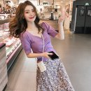 Women's large Summer 2020 [two piece set] purple top + Purple Floral Skirt [single piece] purple top [single piece] floral skirt L XL S M Two piece set commute Socket Broken flowers Korean version V-neck routine Century girl 18-24 years old Medium length Other 100% Pure e-commerce (online only)