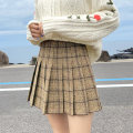 skirt Autumn of 2019 XS S M L XL XXL Navy Khaki Brown Short skirt Versatile High waist Pleated skirt lattice Type A 18-24 years old KF2127 More than 95% MC mecover / micafur polyester fiber Polyester 96% viscose 4% Exclusive payment of tmall