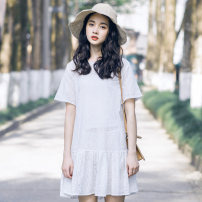 Dress Summer 2020 Off white S,M,L Middle-skirt singleton  Short sleeve commute Crew neck Loose waist Solid color Socket Pleated skirt routine Others 18-24 years old Type A Other / other literature Embroidery, Gouhua and hollowing out More than 95% brocade cotton