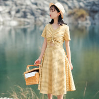 Dress Summer 2020 yellow XS,S,M,L Mid length dress singleton  Short sleeve commute V-neck High waist lattice zipper A-line skirt routine Others 18-24 years old Type A Other / other literature Bowknot, hollowed out, pleated, stitched, zipper 71% (inclusive) - 80% (inclusive) brocade nylon