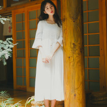 Dress Summer 2020 Off white S,M,L Mid length dress singleton  elbow sleeve Sweet Crew neck High waist Solid color Socket A-line skirt pagoda sleeve 18-24 years old Type A Hollowed out, stitched 81% (inclusive) - 90% (inclusive) brocade cotton Mori