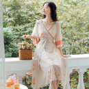 Dress Summer 2020 Beige background S,M,L Mid length dress singleton  elbow sleeve Sweet V-neck High waist Decor Socket A-line skirt Others 18-24 years old Type A Other / other Lace up, stitching, printing 91% (inclusive) - 95% (inclusive) Chiffon nylon Mori