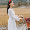 Dress Spring 2020 white S,M,L Mid length dress singleton  Long sleeves commute Lotus leaf collar High waist Solid color A-line skirt pagoda sleeve 25-29 years old Type A Other / other literature Frenulum 81% (inclusive) - 90% (inclusive) Lace