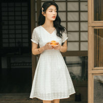 Dress Autumn 2020 white S,M,L Middle-skirt singleton  Short sleeve Sweet V-neck middle-waisted Solid color Socket A-line skirt Petal sleeve Others 18-24 years old Type A Other / other Embroidery, Gouhua and hollowing out More than 95% brocade cotton Mori