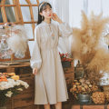 Dress Summer 2020 Apricot S,M,L Mid length dress singleton  Long sleeves commute stand collar Loose waist Solid color Socket A-line skirt routine Others 18-24 years old Type A Other / other literature Embroidery 91% (inclusive) - 95% (inclusive) brocade cotton