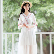 Dress Summer of 2019 White, red S,M,L,XL Mid length dress singleton  elbow sleeve Sweet V-neck High waist Solid color Socket A-line skirt other Others 18-24 years old Type A Other / other Splicing 71% (inclusive) - 80% (inclusive) Chiffon nylon Mori