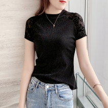 T-shirt black S M L XL XXL Summer 2021 Short sleeve Crew neck Self cultivation Regular routine commute nylon 86% (inclusive) -95% (inclusive) 25-29 years old Korean version classic Solid color Paramount PLK20B075 Splicing and hollowing out