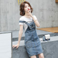 Dress Summer 2021 S M L XL Middle-skirt Two piece set Short sleeve commute Crew neck High waist Solid color Socket One pace skirt routine straps 25-29 years old Type A Ciaso Korean version Embroidered pocket strap button More than 95% other other Other 100%