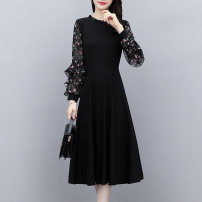 Dress Autumn 2020 M L XL 2XL 3XL 4XL 5XL Mid length dress singleton  Long sleeves commute Crew neck middle-waisted Solid color zipper A-line skirt routine Others 25-29 years old Ciaso Korean version Ruffle zipper More than 95% Chiffon other Other 100%