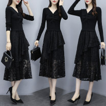 Dress Autumn 2020 black S M L XL 2XL 3XL Mid length dress singleton  Long sleeves commute V-neck Elastic waist Solid color Socket Big swing routine Others 25-29 years old Ciaso Korean version Stitched zipper lace X20C1547 More than 95% other other Other 100%