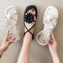 Sandals 35 36 37 38 39 Black Beige PU Good Bashi Barefoot Flat bottom Low heel (1-3cm) Spring 2021 Trochanter Korean version Solid color Adhesive shoes Youth (18-40 years old) rubber daily Rear trip strap Roman style Low Gang Hollow PU PU Fashion sandals Pure e-commerce (online only)