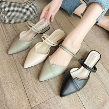 slipper 35 36 37 38 39 Good Bashi Green black off white Thick heel Middle heel (3-5cm) PU Spring 2021 Baotou rubber daily Korean version Adhesive shoes Youth (18-40 years old) Solid color Thick heel PU PU Shaving Pure e-commerce (online only)