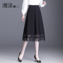 skirt Spring 2021 27/M 28/L 29/XL 30/2XL 31/3XL 32/4XL black Mid length dress commute High waist A-line skirt Solid color Type A other Overflow Korean version Pure e-commerce (online only)