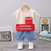 suit Mother and baby English splicing short sleeve suit red English splicing short sleeve Suit Blue 80cm 90cm 100cm 110cm 120cm neutral summer leisure time Short sleeve + pants 2 pieces Thin money Socket letter cotton c8788-xx-106 Class A