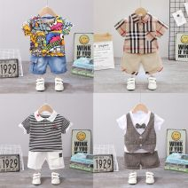 suit Mother and baby 80cm 90cm 100cm 110cm 120cm male summer leisure time Short sleeve + pants 2 pieces Thin money No model Socket nothing other cotton children Expression of love Class A Cotton 95% other 5% Summer of 2019 12 months 9 months 18 months 2 years 3 years 4 years 5 years old