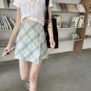 skirt Summer 2020 XXS,XS,S,M,L Blue check 615, yellow black check 613 Short skirt High waist lattice Type A 613#615 Button