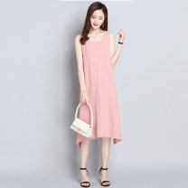 Dress Summer 2021 M L XL XXL XXXL longuette singleton  Sleeveless commute Crew neck Loose waist Solid color Socket A-line skirt routine camisole 35-39 years old Type A Shifanmia Simplicity Splicing More than 95% other Other 100%