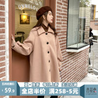 Women's large Spring 2021 Khaki JH S M L XL 2XL 3XL 4XL woolen coat singleton  Sweet Self cultivation moderate Cardigan Short sleeve Solid color square neck Medium length puff sleeve 12-29C5354LQS-XX Apricot blossom love 18-24 years old Button Short skirt Polyester 100% Pure e-commerce (online only)