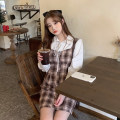 Dress Spring 2021 Red, coffee S,M,L Mid length dress Fake two pieces Long sleeves commute High waist lattice 18-24 years old Korean version 09000#
