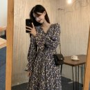 Dress Autumn 2020 Black, blue S,M,L Mid length dress singleton  Long sleeves commute V-neck High waist Broken flowers Socket 25-29 years old Korean version printing 2008D05 More than 95% Chiffon polyester fiber