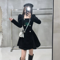 Dress Winter 2020 black S,M,L Short skirt singleton  Long sleeves commute square neck High waist Solid color zipper Pleated skirt Horn sleeve Type A Korean version printing DL122306 51% (inclusive) - 70% (inclusive) cotton