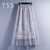 skirt Summer of 2019 Average size Grey, apricot, pink Mid length dress commute High waist A-line skirt Decor Type A Cut out, mesh, lace Korean version