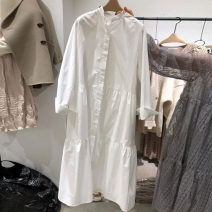 Dress Spring 2021 White, black S,M,L,XL Mid length dress singleton  Long sleeves commute Crew neck High waist Solid color Single breasted A-line skirt routine Others 25-29 years old Type H Other / other Korean version Button, button 31% (inclusive) - 50% (inclusive) brocade cotton