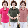 shirt XL,2XL,3XL,4XL,5XL Summer of 2019 cotton 51% (inclusive) - 70% (inclusive) Short sleeve commute Regular Polo collar Single row multi button routine Solid color 40-49 years old Straight cylinder Korean version