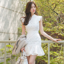Dress Spring 2020 White, black, white [high quality fabric delivery], black [high quality fabric delivery] S,M,L,XL Short skirt singleton  Sleeveless commute stand collar High waist other zipper Ruffle Skirt other Others Type X Korean version Lotus leaf edge