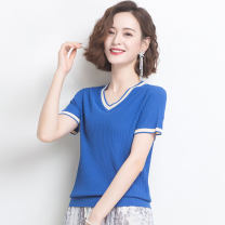 T-shirt Red rice lotus root powder sea blue deep apricot black M L XL XXL Summer 2020 Short sleeve V-neck easy have cash less than that is registered in the accounts routine commute other 96% and above Korean version Solid color Huanjinshan / golden fir hjsX18108202004062125 thread Other 100%