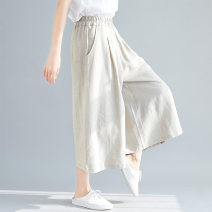 Women's large Summer 2020 Natural color of hemp trousers singleton  commute easy moderate Solid color literature hemp Three dimensional cutting Yingluolan Other 100% Cropped Trousers