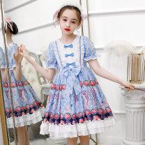 Dress Red, blue, red + headdress, red + skirt, red + headdress + skirt, blue + headdress, blue + skirt, blue + headdress + skirt female Other / other 110cm,120cm,130cm,140cm,150cm,160cm Other 100% summer Lolita Short sleeve Cartoon animation polyester Fluffy skirt Class B