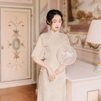 cheongsam Summer of 2019 Pre sale, spot delivery, 18 working days (m, s) Off white Single cheongsam Retro daily double-breasted  Solid color polyester fiber 96% and above