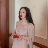 Dress Autumn 2020 Shrimp pink girl's nightdress One yard spot Mid length dress singleton  Long sleeves commute stand collar Loose waist Solid color Socket A-line skirt bishop sleeve Others Type H Retro Stitching, buttons, lace More than 95% other polyester fiber