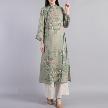 Dress Autumn 2020 Light green light blue L XL Mid length dress singleton  Long sleeves commute stand collar Loose waist Decor Socket A-line skirt routine Others 40-49 years old Beccaccio ethnic style Button print on pocket BKQ5012 More than 95% hemp Flax 100% Pure e-commerce (online only)