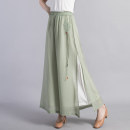 Casual pants Mint green black white Average size Spring 2021 trousers Wide leg pants High waist commute routine 35-39 years old BKQ20191 Beccaccio ethnic style Tencel Other 100% Pure e-commerce (online only) Asymmetry