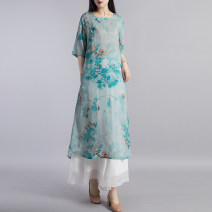 Dress Summer 2020 Grey (without pants) blue green (without pants) M L Mid length dress singleton  elbow sleeve commute Crew neck Loose waist Broken flowers Socket A-line skirt routine Others 40-49 years old Beccaccio ethnic style Pocket print BKQ80770 91% (inclusive) - 95% (inclusive) hemp