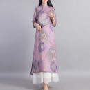 Dress Spring 2021 Blue purple powder M L Mid length dress singleton  elbow sleeve commute stand collar Loose waist Decor Socket A-line skirt routine Others 40-49 years old Type A Beccaccio ethnic style Pocket printed buckle BKQ81108 More than 95% other Other 100% Pure e-commerce (online only)