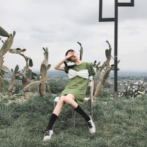 Dress Summer 2020 White army green black S M L Mid length dress Short sleeve commute Crew neck Loose waist A-line skirt 25-29 years old Type A SIBYL OF NO.17 Retro Three dimensional decoration SD3120001 More than 95% other Other 100%