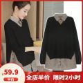 Women's large Autumn 2020 Black [S, m, 5XL not available] S M L XL 2XL 3XL 4XL Other oversize styles Two piece set commute easy moderate Socket Long sleeves Solid color Korean version Polo collar routine Three dimensional cutting routine CP8918-1 Dieliting 18-24 years old Other polyester 95% 5%